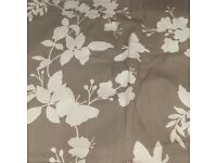 Mocha/Grey butterfly/ leaf pattern curtains approx 66x90""