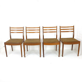 Set of 4 G PLAN Dining Chairs DELIVERY POSS Ladder Back Original Upholstry Fresco Vintage Retro Teak