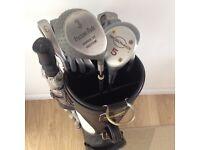 Apollo Series VI golf clubs, Titleist bag, Umbrella & Trolley for sale