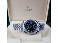 Complete Package silver strap black face ceramic bezel Rolex datejust automatic sweeping