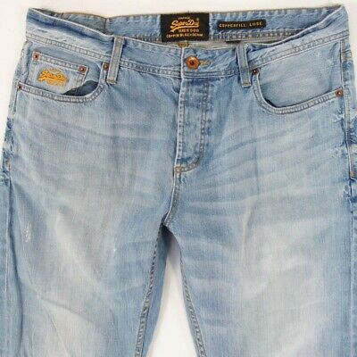 Mens SuperDry COPPERFILL LOOSE Relaxed Blue Jeans W36 L34