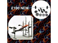 New 32kg weight set and folding bench £100