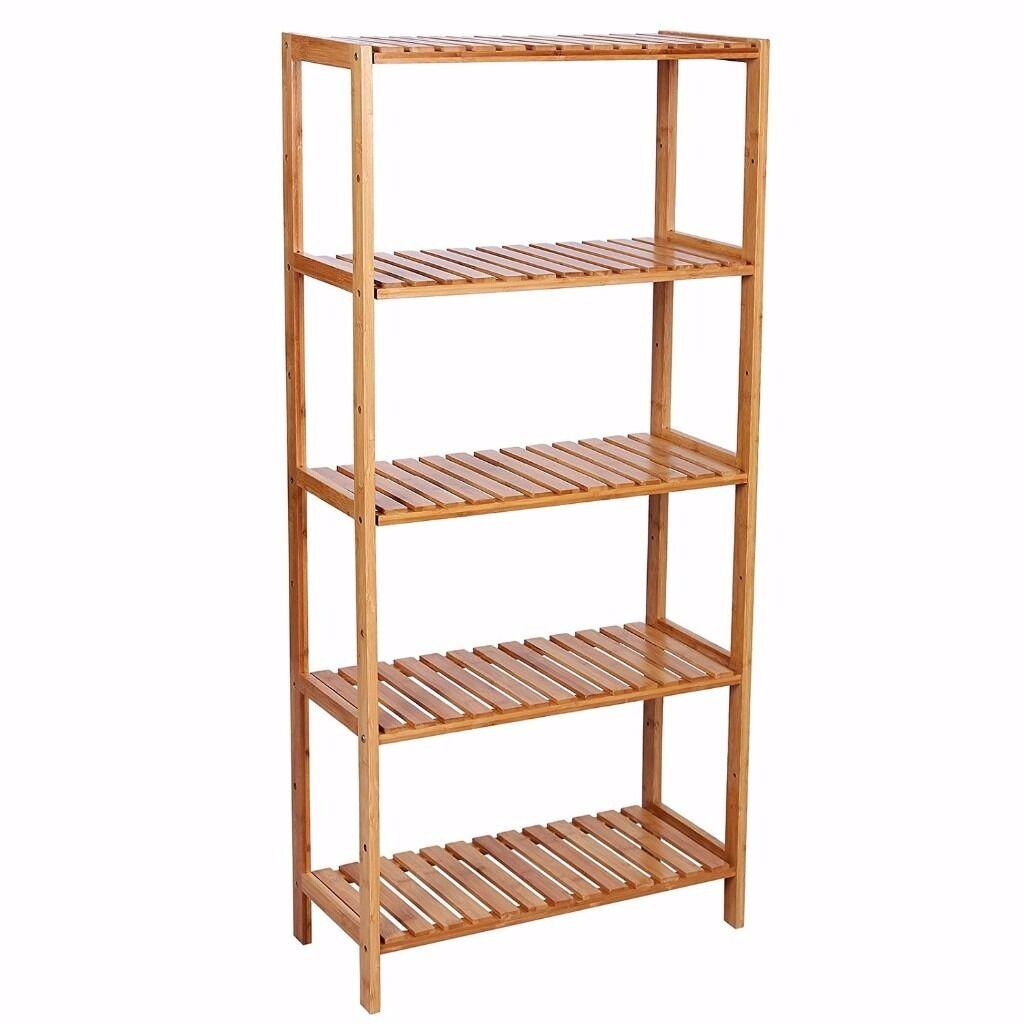 Bamboo bathroom shelf unit - Songmics 5 Shelves Bamboo Bathroom Shelf Unit Storage Stand Shelves Shoe Rack Brand New