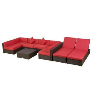 9 PIECE OUTDOOR PATIO RATTAN WICKER SECTIONAL & CHAISE LOUNGE FURNITURE SET
