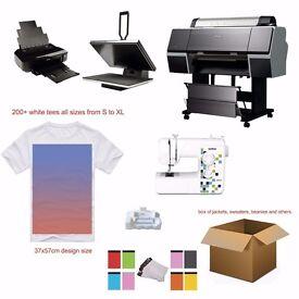 """T-shirt business starter pack - 24"""" printer - 40x60cm Heatpress - 200+ blank tees!"""