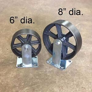 "Large Size Cast Iron Casters 6"" and 8 inch"