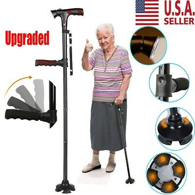 Magic Walking Cane LED Safety Folding Walking Stick 4 Head Pivoting Trusty Base