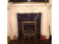 ADAM STYLE FIRE SURROUND WITH BLACK MARBLE HEARTH & FREE FIRE