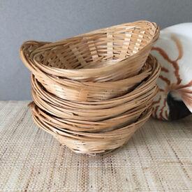 6x Bamboo Bread Storage Baskets