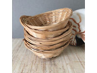 6x Bamboo Bread Storage Baskets