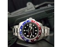 New black dial blue and red ceramic bezel silver bracelet Rolex GMT Master II 40MM Mens watch auto