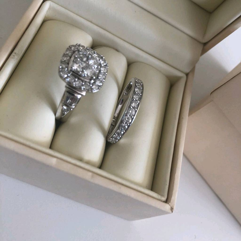 a08fa726483 Perfect fit engagement ring 9ct white gold bridal set 1.5 ct diamonds ...