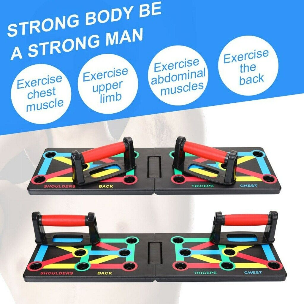 Women Men Push Up Board Stand Handles Chest Press Gym Fitness Muscle Exercise UK