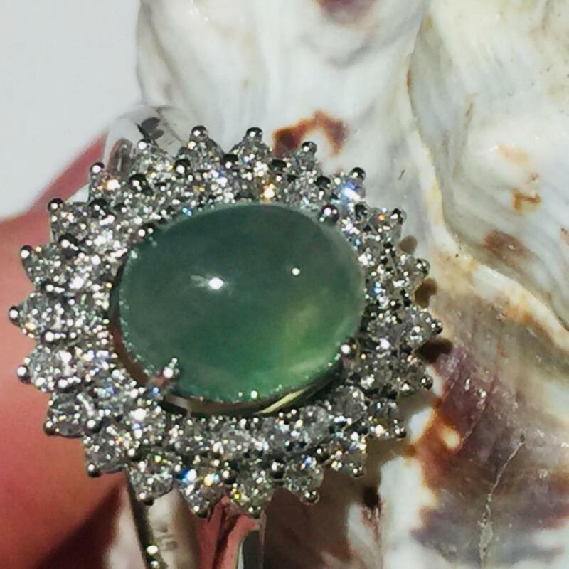 Estate Vintage 14K White Gold Natural Jade Diamond Cocktail Ring Jewelry R4002