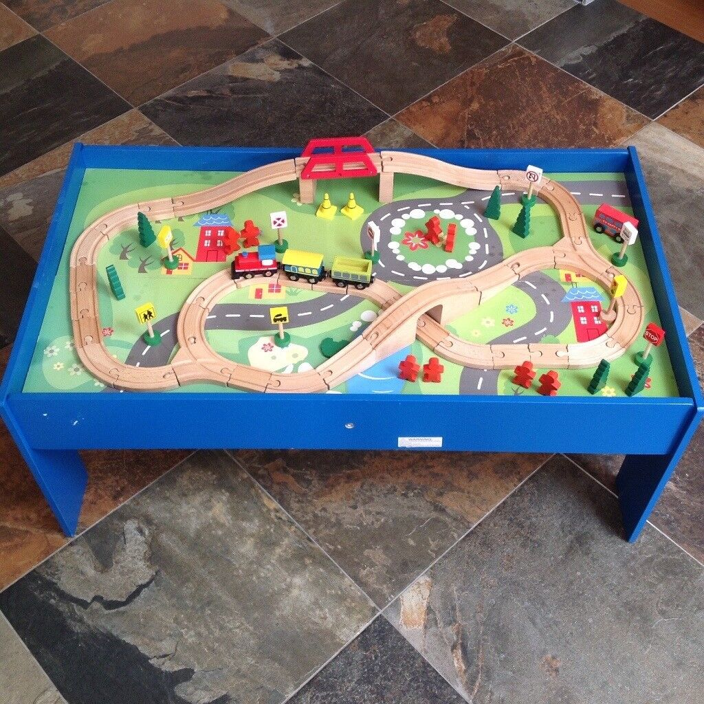 Chad Valley Wooden Table and 90 Piece Train Set | in Kesgrave ...