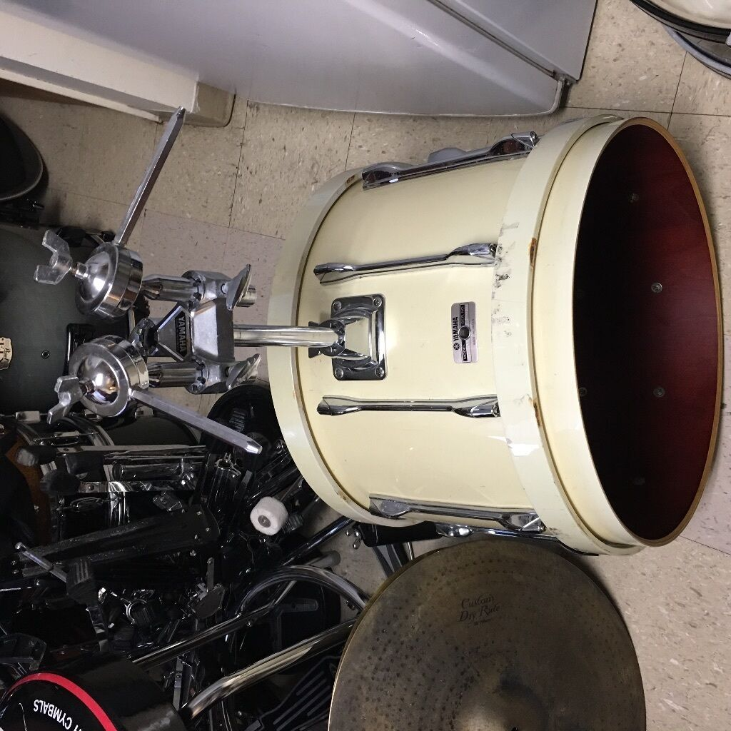 drum set drums drum rare 16x20 yamaha recording custom bass drum with tom holder white pearl. Black Bedroom Furniture Sets. Home Design Ideas