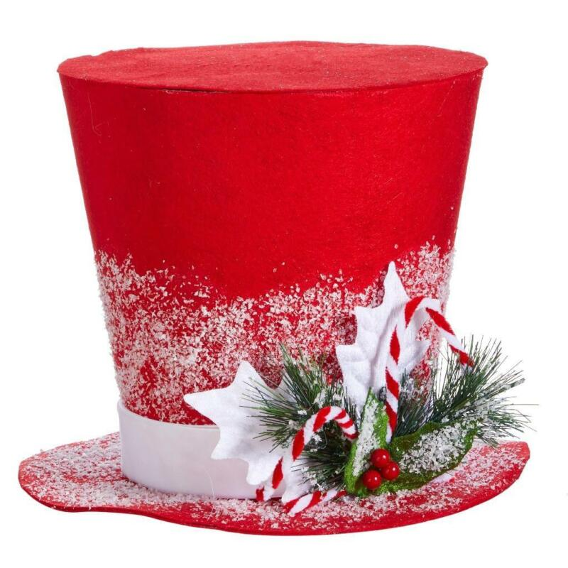 """11.5""""  Snowy Snowman Red Top Hat Christmas Tree Topper"""