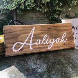 Engraved and personalised wooden name plaques - A perfect gift, wedding, decoration
