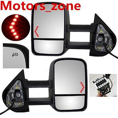 07-13 Chevy Silverado Sierra Tahoe Side Towing Mirrors W/LED Lights Power Heated