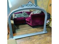 Shabby chic extra large ornate mantel mirror