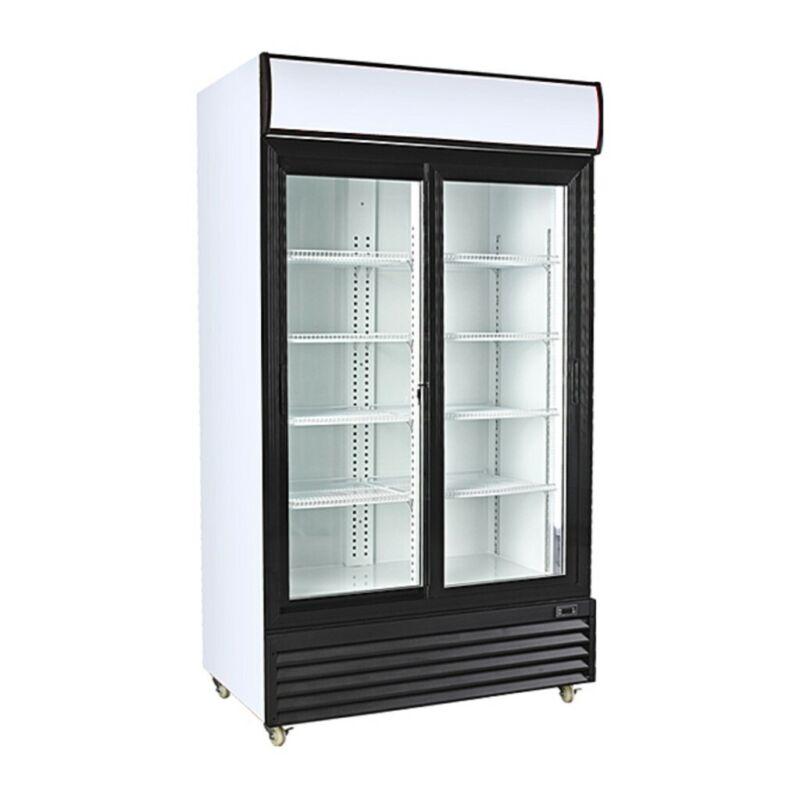 Double Sliding Door Display Beverage Cooler Merchandiser Refrigerator