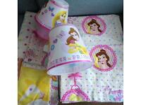 Disney Princesses bedset/curtains/lamp & lightshade