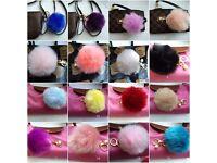 pom pom bag charms key rings 18 colours 1 each left