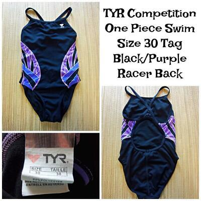 Women's TYR Competition Swimsuit Size 30 Black with Purple Geometric Good (Women's Competition Swimwear)