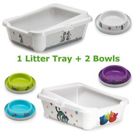 Details about Cat Large Litter Tray With Rim 51x39x19cm + 2 Bowls 0.2L Box Bowl Pan Toilet Loo