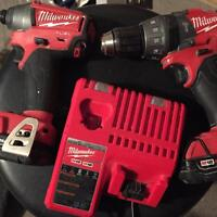 Milwaukee Fuel 18v hammer drill and impact