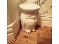 White owl ceramic side table