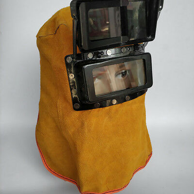 Clear Lens Leather Hood Welding Helmet Mask Eye Face Protection Equipment
