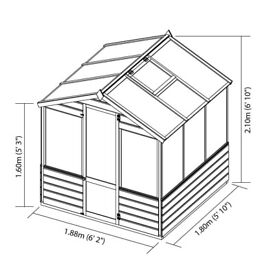 Two NEW 6x6 wooden greenhouses for sale with styrene opening windows, one standard one premium