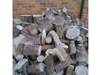 Wood logs unsplit and various sizes