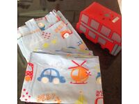 Boys Next cars bedroom curtains, single bed set and bus lightshade