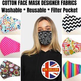 Adults & Kids Cotton Washable Face Masks Triple Layer Filter Pocket