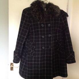 Ladies 3/4 black and white check coat size 18