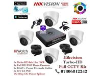 Hikvision HiWatch CCTV Kit, 8CH Hikvision Turbo-HD Cube DVR 1TB HDD, 4x Hikvison 1080P Dome Cameras