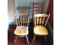 Lot of 4 Vintage Farmhouse Wooden Kitchen Dining Chairs for Up-cycling / Can Deliver