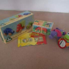 wooden car set, musical blocks and others