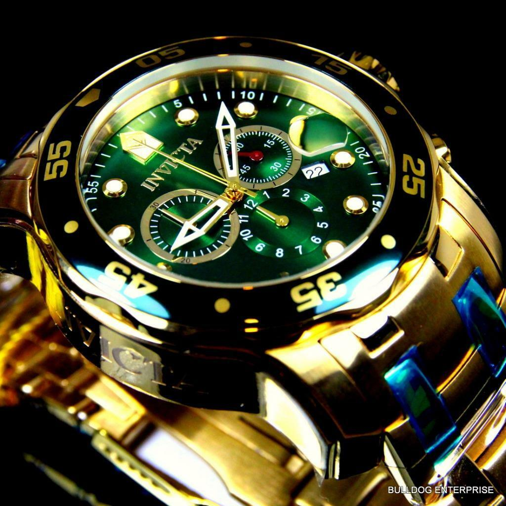 $114.99 - Mens Invicta Pro Diver Scuba 18kt Gold Plated Chronograph Green 48mm Watch New