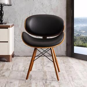 Chaise d'appoint en cuir reconstitué noir (BSI05)