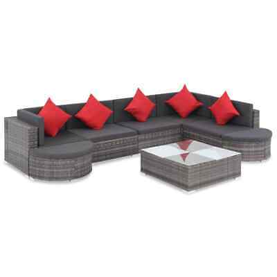 vidaXL Outdoor Sofa Set 27 Piece Poly Rattan Wicker Gray Patio Couch Lounge ()