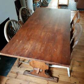 Vintage farmhouse dining table and chairs