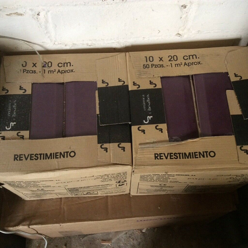 Ceramic Kitchen Tiles Aubergine Colour 200 Each Tile 10 X 20 Cm Walmer