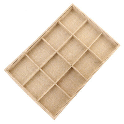 12-slot Jute Lining Jewelry Box Necklace Display Stand Beige