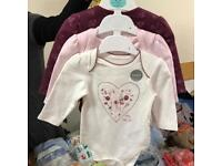 3 x brand new long sleeve vests age 0-3 months