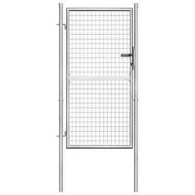 vidaXL Garden Gate Galvanised Steel 105x200cm Silver Outdoor Entrance Door