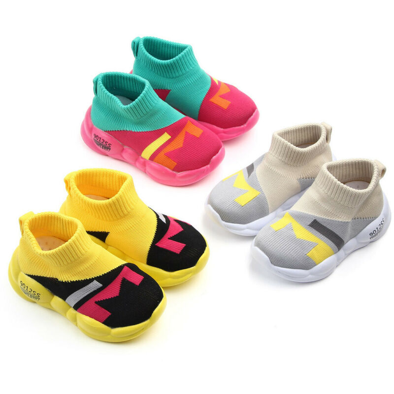 Toddler Infant Girls Soft Sole Sport Knitted Sneakers