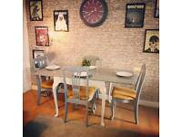 Stunning vintage shabby chic extendable dining table and 4 chairs free delivery